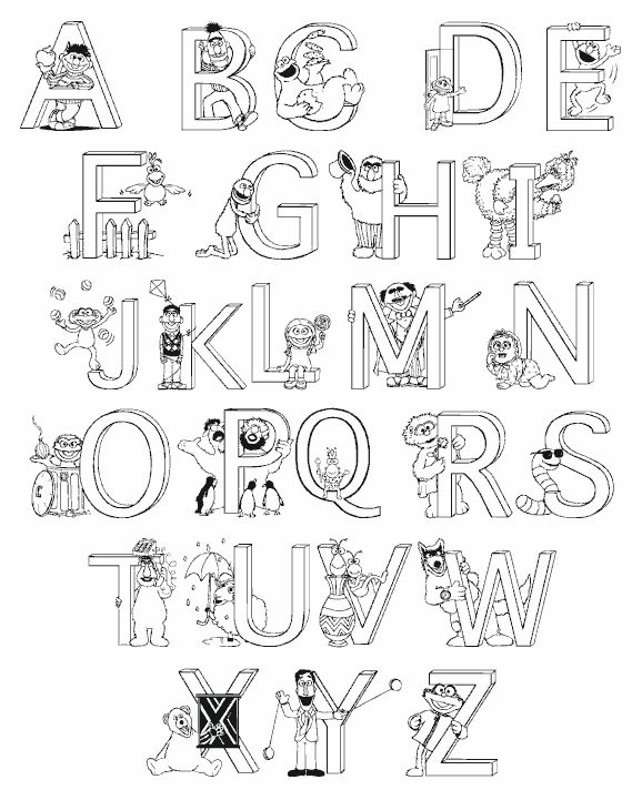 Раскраска английский алфавит для детей в картинках