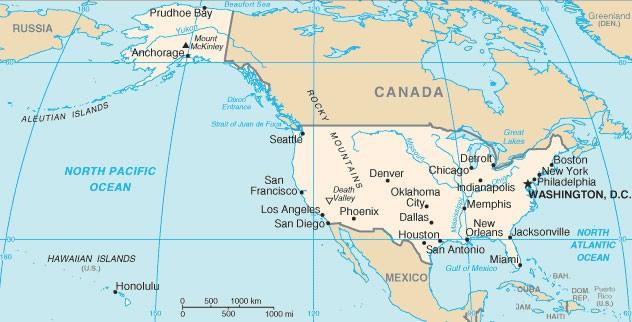 Подробная карта США со штатами