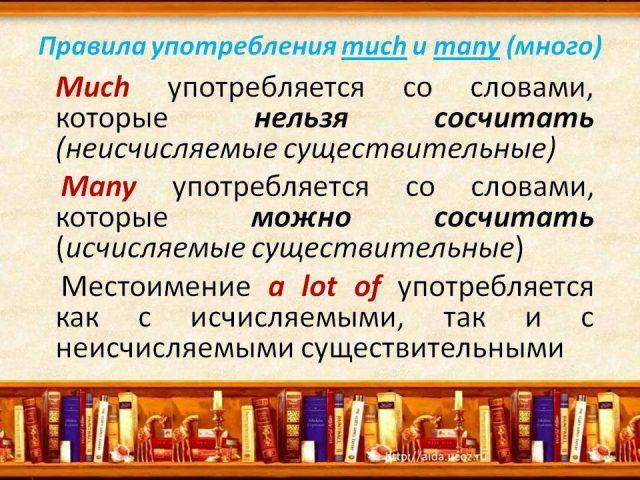 Much и Many: правила употребления, перевод