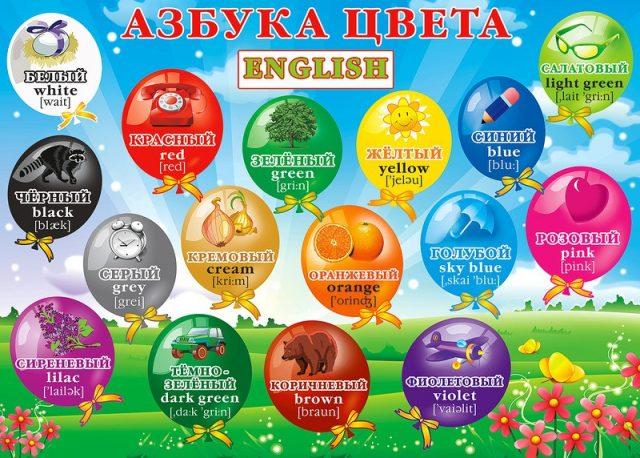 Учим Цвета на Английском языке для Детей