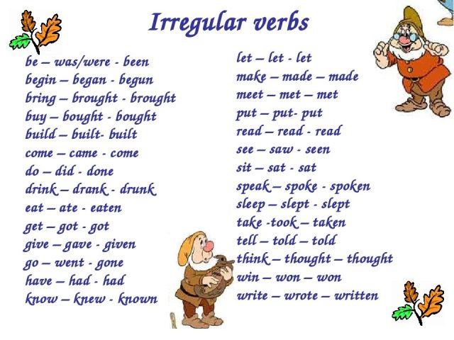 Неправильные глаголы: Сколько неправильных глаголов в английском языке?