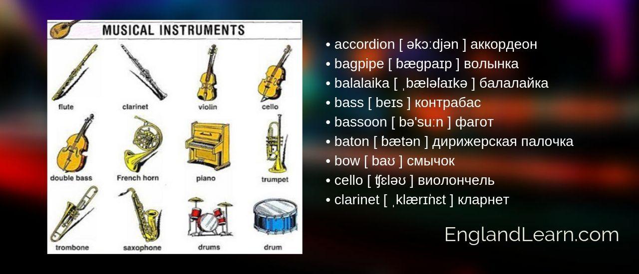 английская лексика о музыке