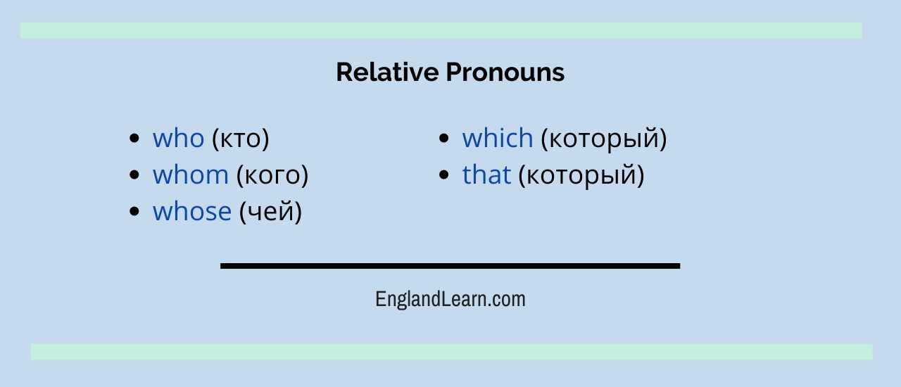Относительные местоимения в английском языке