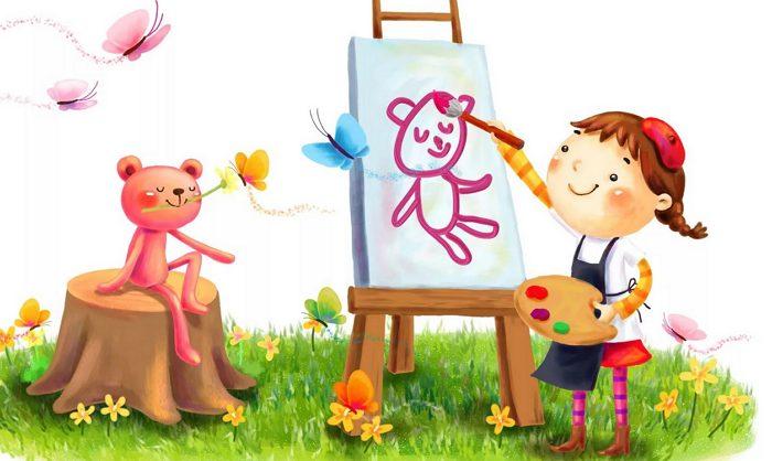 Маленькие художники - глагол to be детям